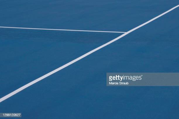 blue tennis  court surface and lines - tennis stock pictures, royalty-free photos & images