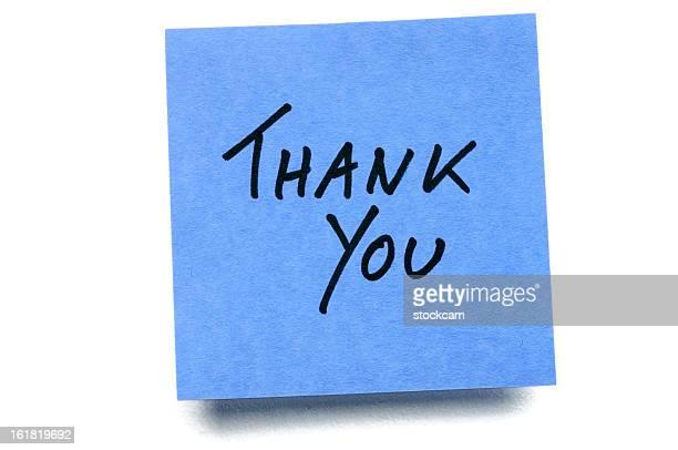 blue thank you post-it note isolated on white - bord bericht stockfoto's en -beelden