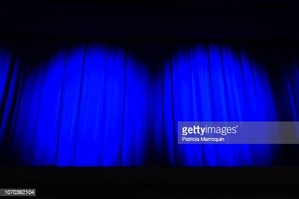 blue theater stage curtains - stage curtain stock pictures, royalty-free photos & images