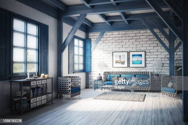 blue (azure) themed holiday villa interior - carpet decor stock photos and pictures