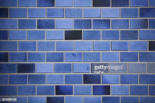 blue tiled wall texture - ceramic stock pictures, royalty-free photos & images