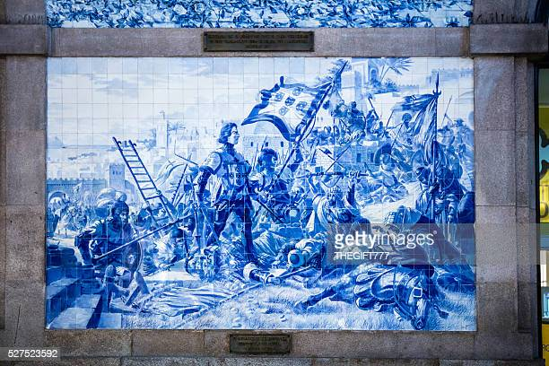blue tiles illustration at são bento station in porto - portuguese culture stock pictures, royalty-free photos & images