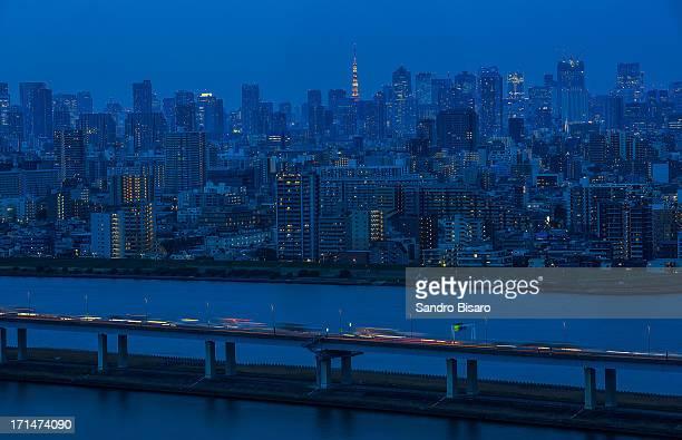 Blue Tokyo skyline