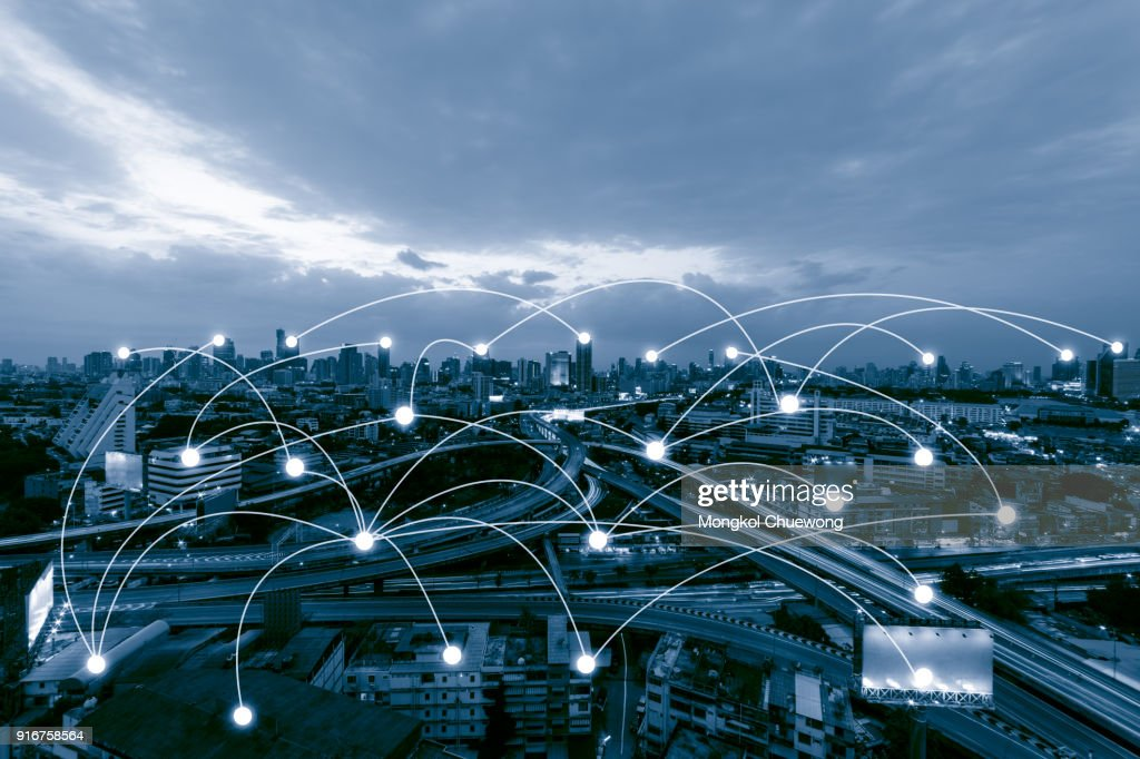 Blue tone city scape and network connection concept , Network in business district : Photo