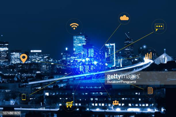 blue tone city scape and smart city and wireless communication network, abstract image visual, internet of things - building icon stock photos and pictures