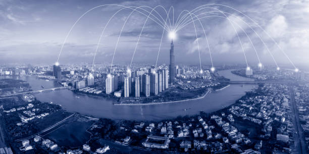Blue tone cityscape of Ho Chi Minh City in Vietnam and network connection concept , Network in center of heart business district near Saigon river