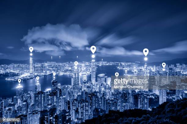 Blue tone Hong Kong cityscape view form The Peak Hongkong and network connection concept , Map pin business district