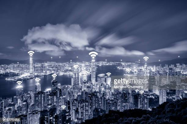 Blue tone Hong Kong cityscape view form The Peak Hongkong and network connection concept , Wifi at business district