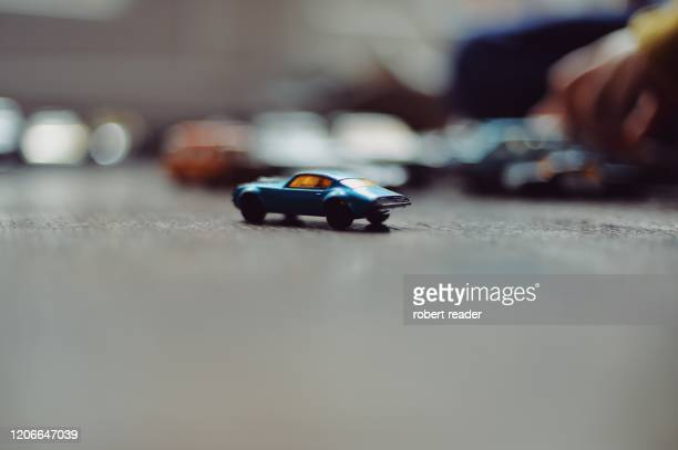 blue toy car - close up stock pictures, royalty-free photos & images