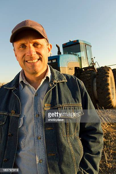 Blue Tractor and Farmer
