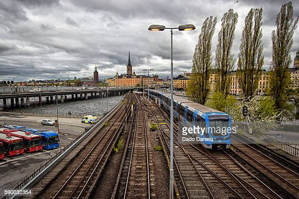 blue train gamlastan station - djurgarden stock pictures, royalty-free photos & images