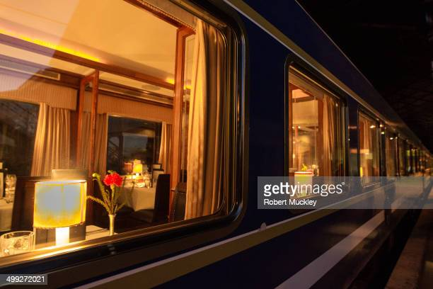 Blue Train Restaurant car looking in from platform at historic luxury of train travel.