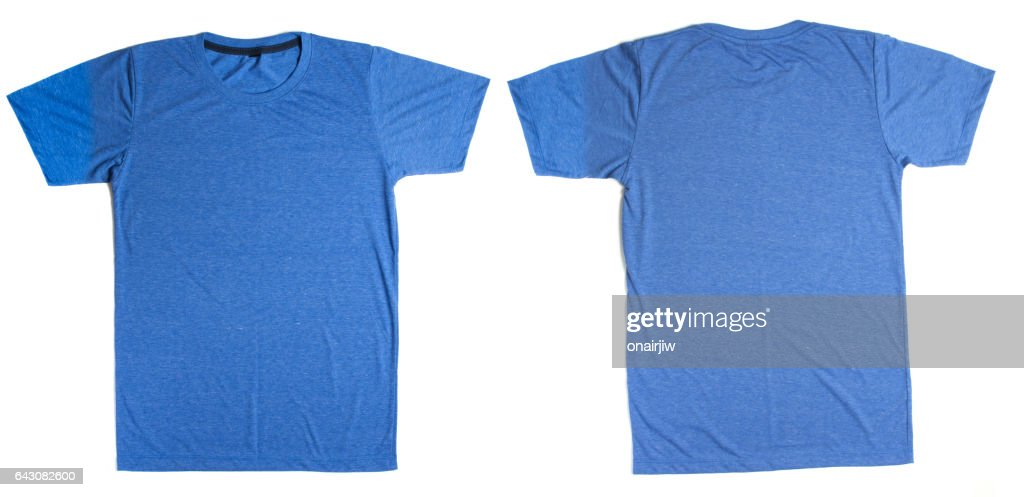 Blue T Shirt Template Ready For Your Own Graphics Stock Photo