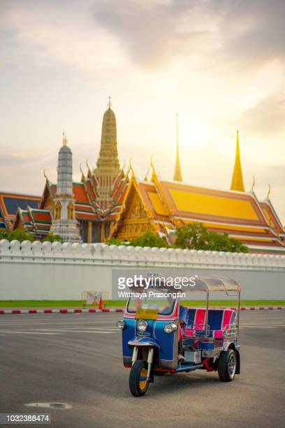 blue tuk tuk, thai traditional taxi in bangkok thailand - auto rickshaw stock pictures, royalty-free photos & images