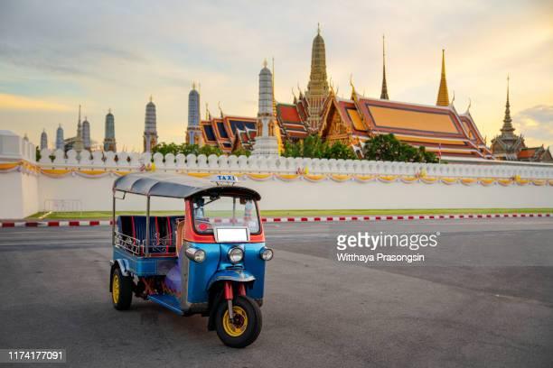 blue tuk tuk, thai traditional taxi in bangkok thailand. - auto rickshaw stock pictures, royalty-free photos & images