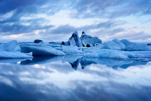 Blue twilight landscape of Jokulsarlon Lagoon, Iceland 477653017