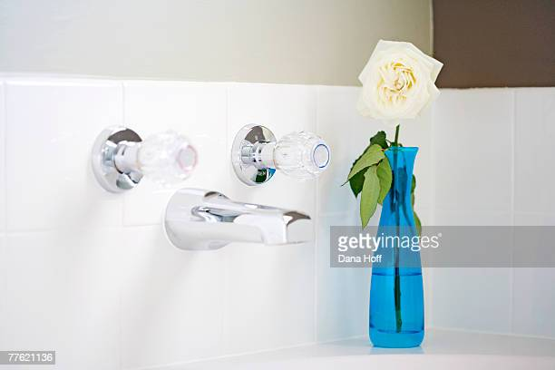 blue vase with white rose in corner of white and silver bath - dana white stock pictures, royalty-free photos & images