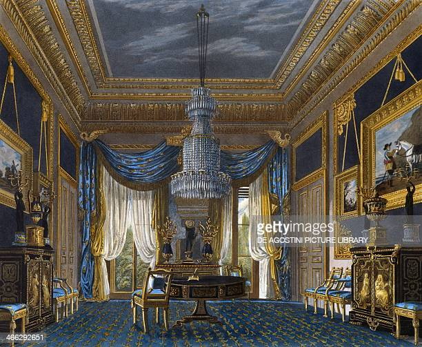 Blue velvet room engraving by Richard Reeve based on a design by Charles Wild from The History of the Royal Residences 18161819 Volume III Carlton...