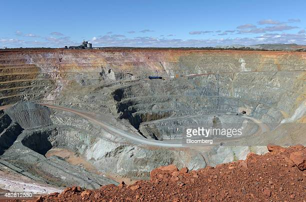 A blue ventilation shaft for underground operations center sits in the open pit mine at the Sandfire Resources NL copper operations at DeGrussa...