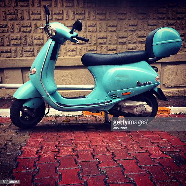 blue vespa parked on istanbul street, turkey - vespa brand name stock pictures, royalty-free photos & images