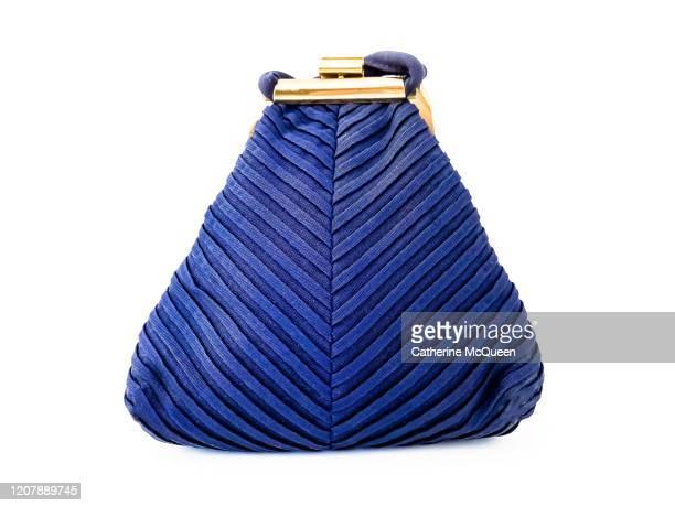 blue vintage clutch purse - blue purse stock pictures, royalty-free photos & images