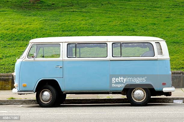 blue volkswagen bus in alamo square san francisco - volkswagen stock pictures, royalty-free photos & images