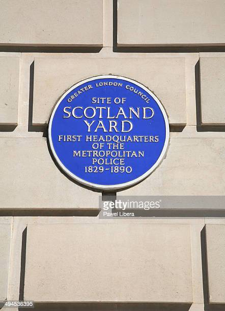 Blue Wall Plaque commemorating site of the First Headquarters of the Metropolitan Police in London aka Scotland Yard