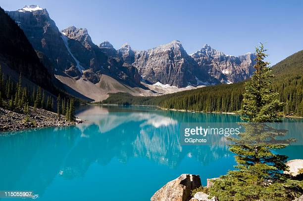 Blue waters of Morraine Lake in Banff National Park, Canada