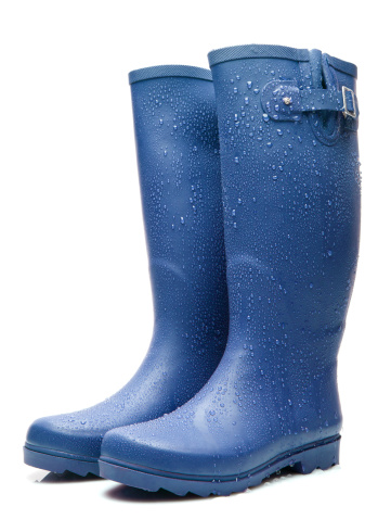 Blue Wellington boots with raindrops 184364653