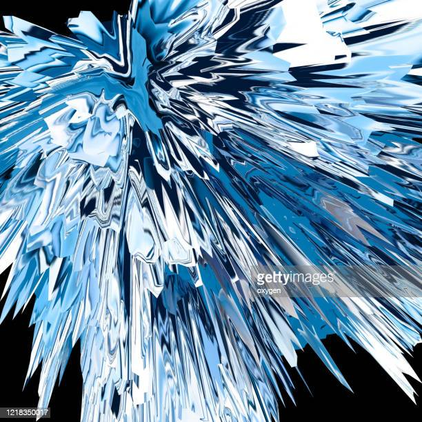 blue white abstract distorted triangle background. glitch texture geometric explode - destruction stock pictures, royalty-free photos & images