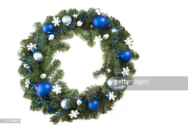 blue, white and green - wreath stock pictures, royalty-free photos & images
