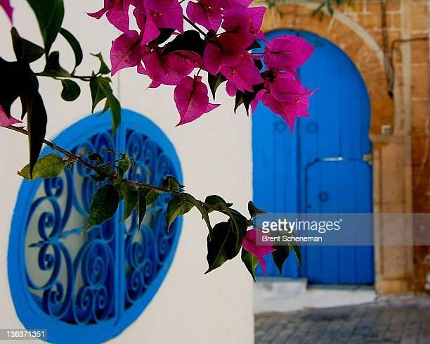 Blue window and street