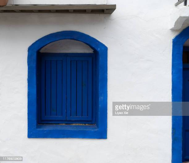 blue window - mediterranean culture stock pictures, royalty-free photos & images