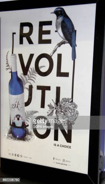 A blue wine promotional poster Gik Blue Wine is the first Blue wine in the world is Produced in Bilbao Spain Gik Blue combines red and white grapes...
