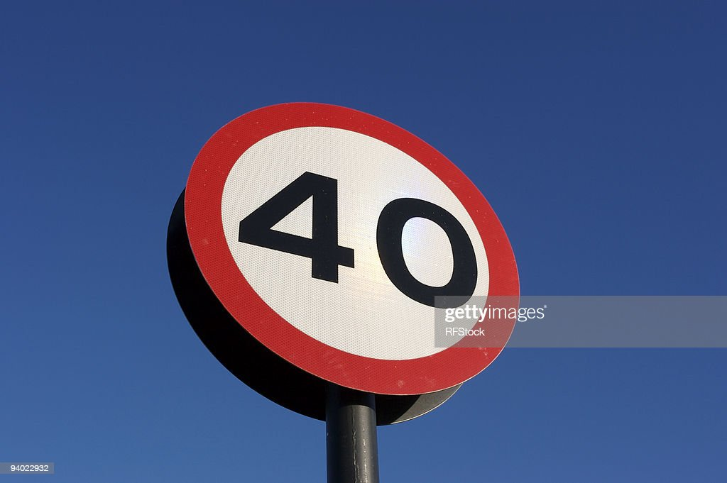 Blue winter sky and 40 sign : Stock Photo