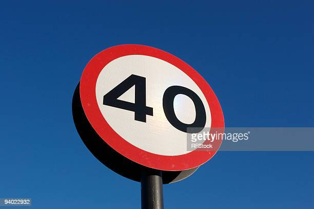 blue winter sky and 40 sign - number 40 stock photos and pictures