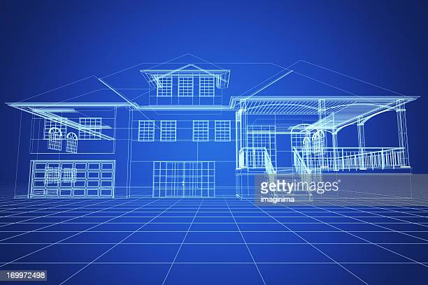 Blue Wireframe Villa