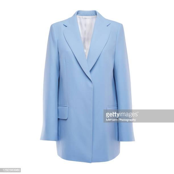 blue women's insulated jacket in white background, invisible mannequin - jacke stock-fotos und bilder