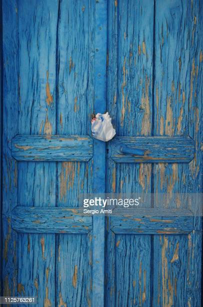 blue wooden door - cyclades islands stock pictures, royalty-free photos & images