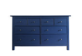 Blue wooden dresser isolated on white background