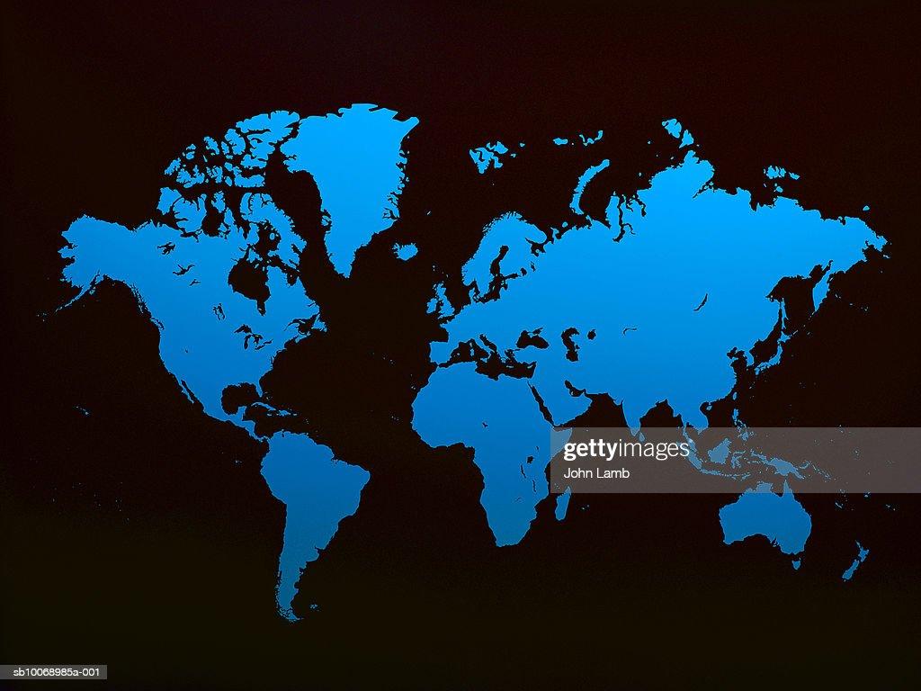 Blue world map on black background stock photo getty images blue world map on black background stock photo gumiabroncs Images