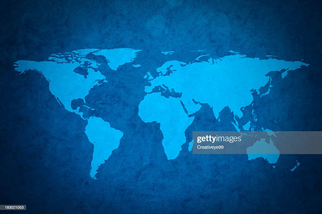 Blue world map : Stock Photo