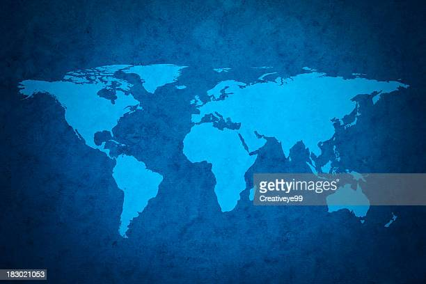 blue world map - world map stock photos and pictures