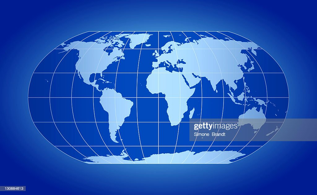 Blue world map robinson projection with grid lines on blue backdrop blue world map robinson projection with grid lines on blue backdrop stock photo gumiabroncs Choice Image