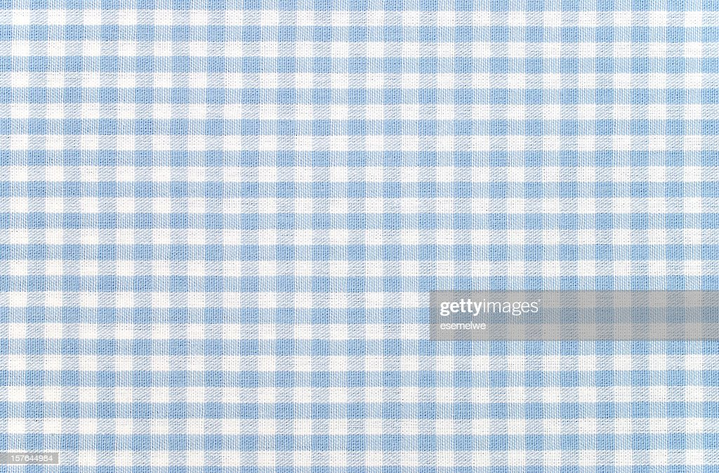 Blue-and-white checkered gingham fabric : Stock Photo
