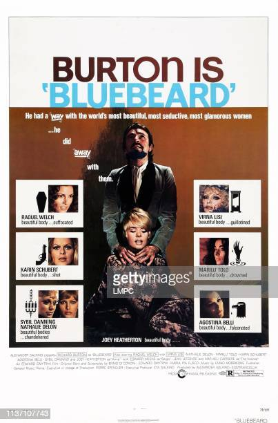 Bluebeard, poster, US poster art, Raquel Welch, Karin Schubert, Sybil Danning, Nathalie Delon, Joey Heatherton, Richard Burton, Virna Lisi, Maril?...