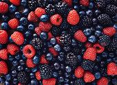blueberies, raspberries and black berries shot top down