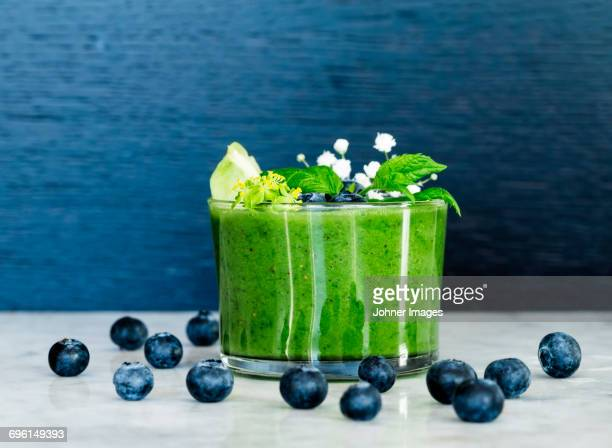 Blueberries and green smoothie