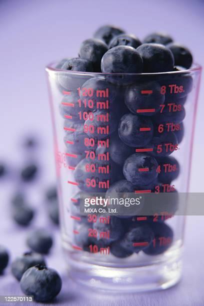 Blueberries in glass jar