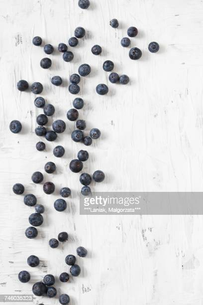 Blueberries scattered on a white surface